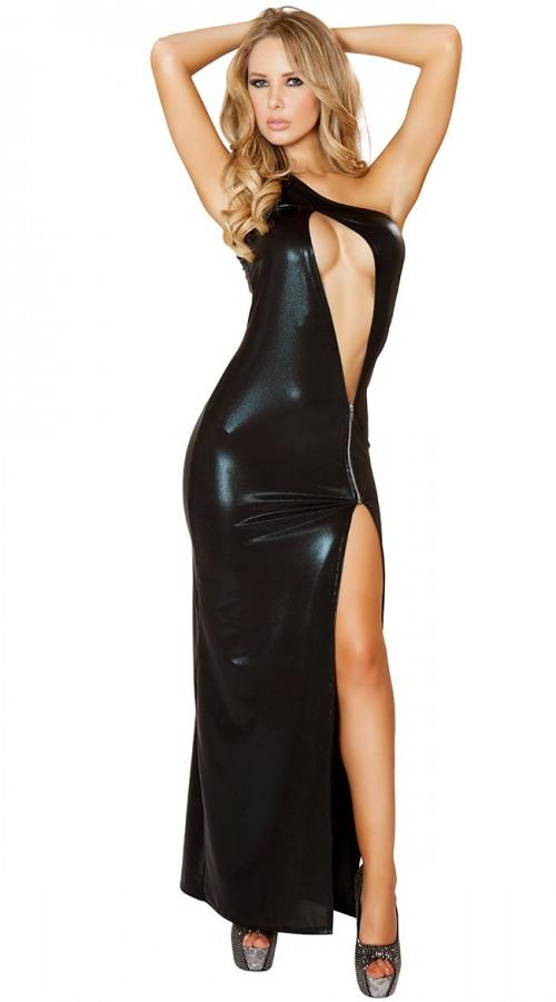 Deri Önden Fermuarlı Uzun Gece Elbisesi